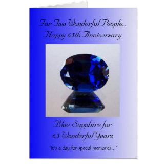 Blue Sapphire 65th Wedding Anniversary Greeting Card