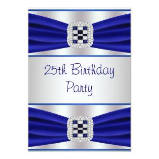 Blue Sapphire Diamond 25th Birthday Invitation