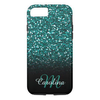 Blue Sapphire Glitter, Name and Monogram iPhone 8/7 Case