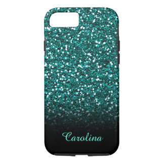 Blue Sapphire Glitter, Personalized with Name iPhone 8/7 Case