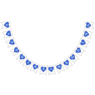 Blue sapphire heart wedding 45th anniversary bunting