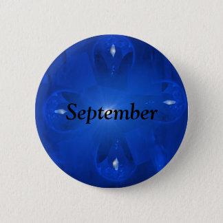Blue Sapphire September Birthstone 6 Cm Round Badge