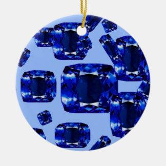 Blue Sapphires September Birthstones Design Christmas Ornament