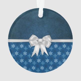 Blue Satin Christmas Bow Ornament