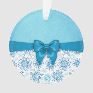 Blue Satin Holiday Snowflake Ornament