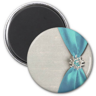 blue satin ribbon with jewel copy 6 cm round magnet