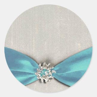 blue satin ribbon with jewel copy round stickers