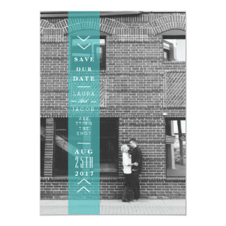 Blue Save The Date Banner | Overlay Photo 13 Cm X 18 Cm Invitation Card