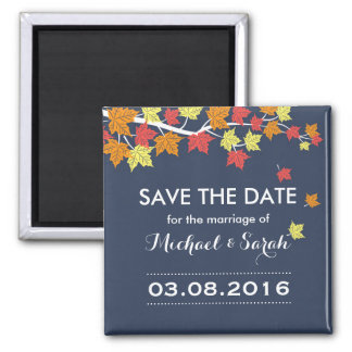Blue Save The Date Maple Leaf Fall Wedding Magnet