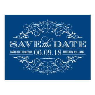 Blue Save the Date | Swirl and Flourish Postcard