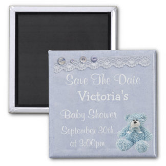 Blue Save the Date Teddy Bear Baby Boy Shower Magnet