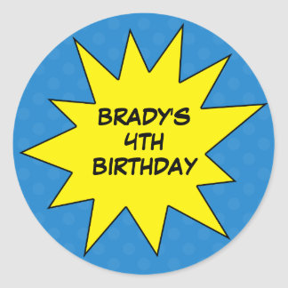 Blue Save the Day Superhero Custom Birthday Classic Round Sticker