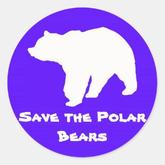 Blue Save the Polar Bears Stickers