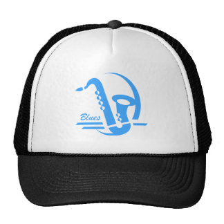 Blue sax blues trucker hat