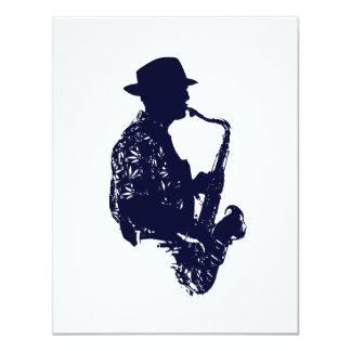 Blue sax player side view outline 11 cm x 14 cm invitation card