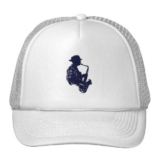 Blue sax player side view outline trucker hat