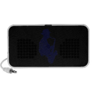 Blue sax player side view outline portable speaker