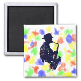 Blue sax player side view outline square magnet