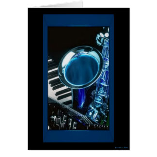 Blue Saxophone Card