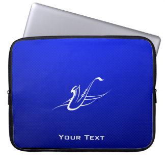 Blue Saxophone Laptop Sleeve