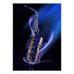 Blue Saxophone Poster