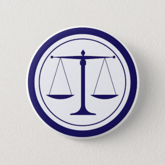 Blue Scales of Justice Silhouette 6 Cm Round Badge