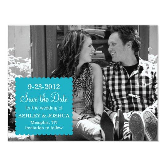 Blue Scalloped Edge Design Save The Date Invites