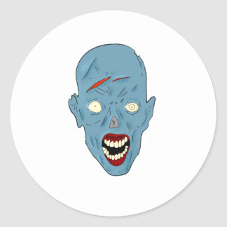 Blue scarred zombie round stickers