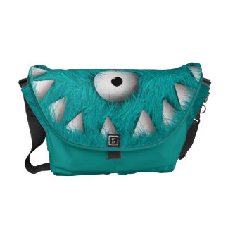 Blue Scary Furry Monster Courier Bag