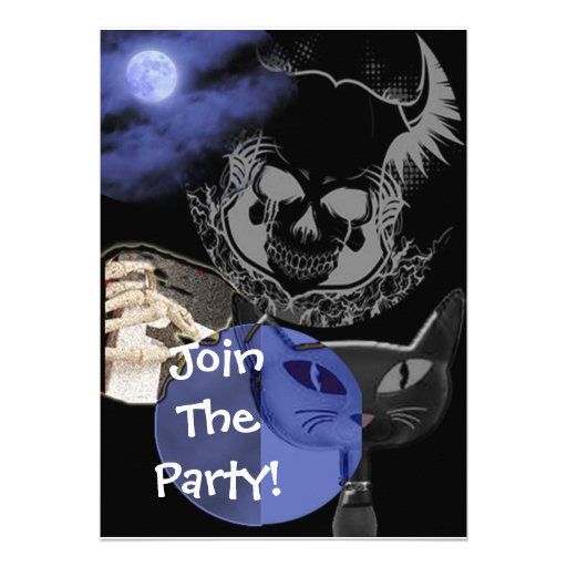 Blue Scary Halloween Party Invitations