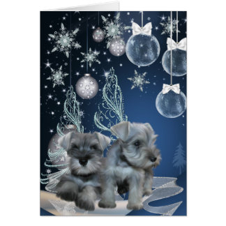 Blue Schnauzer Puppies Christmas Cards
