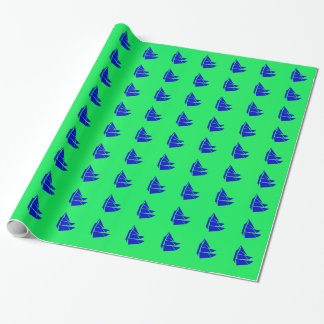 Blue Schooner Sailboat Ship Wrapping Paper