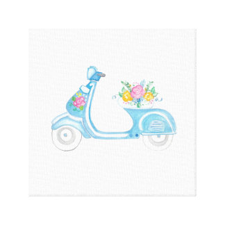 Blue Scooter Canvas Canvas Print