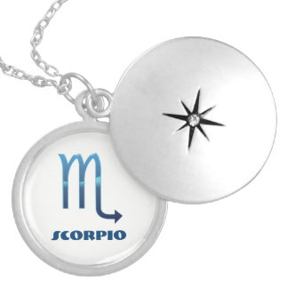 Blue Scorpio Zodiac Signs On White Silver Plated Necklace