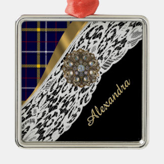 Blue Scottish tartan plaid pattern and white lace Christmas Ornament