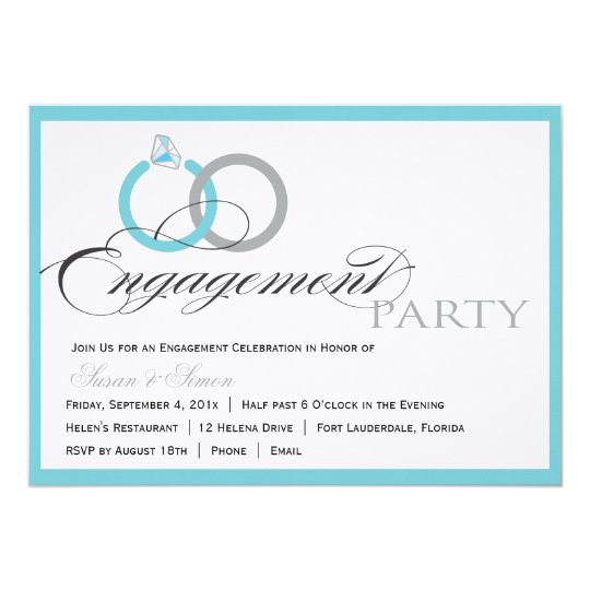 Blue Script Engagement Party Invitation