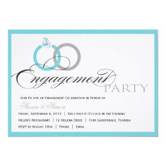 "Blue Script Engagement Party Invitation 5"" X 7"" Invitation Card"