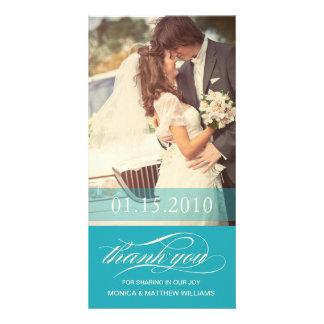BLUE SCRIPT THANKS | WEDDING THANK YOU CARD PHOTO CARDS