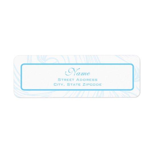 Blue Scroll Christening Address Label