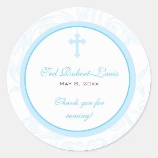 Blue Scroll Cross Address Label Favor Sticker