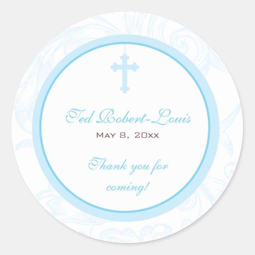 Blue Scroll Cross Address Label/Favor Sticker