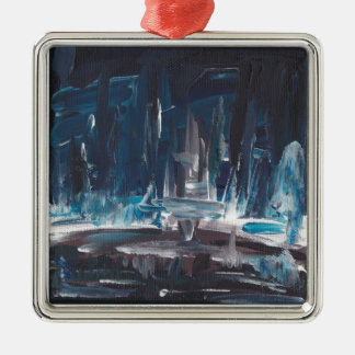 Blue Sea Abstract Art Painting Silver-Colored Square Decoration