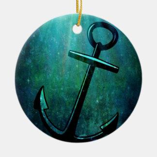 Blue Sea Anchor Christmas Ornament
