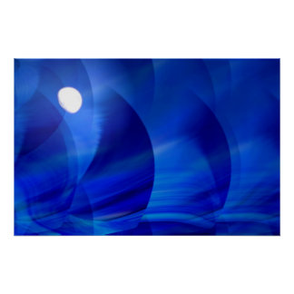 Blue Sea and Moon Digital Abstract Poster Print