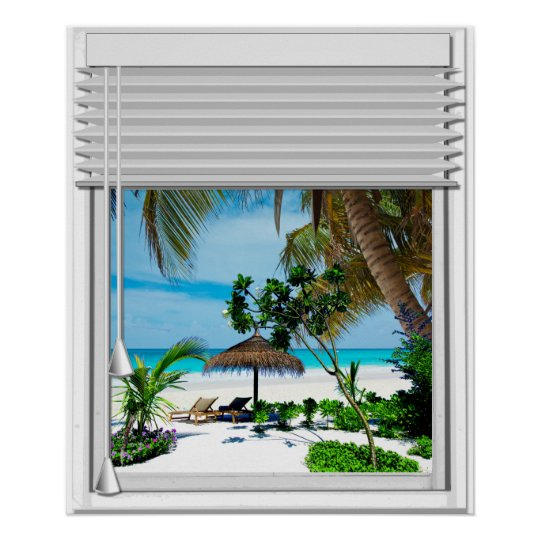 Blue Sea Beach View Fake Window With Blinds