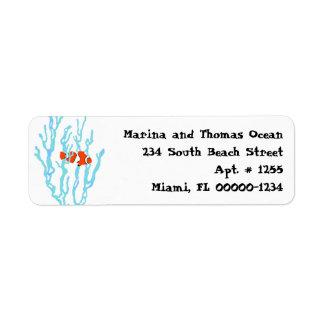 Blue Sea Coral Orange Clown Fish Address Labels