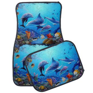 Blue Sea Dolphin Floor Mat
