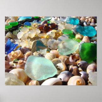 Blue Sea Glass art prints Coastal Beach Agates Poster