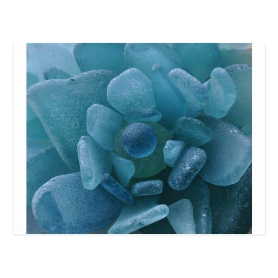 Blue Sea Glass Flower Postcard