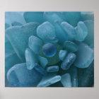 Blue Sea Glass Flower Print